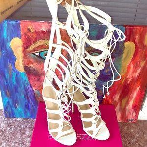 White Below the knee Dress Heeled Sandals